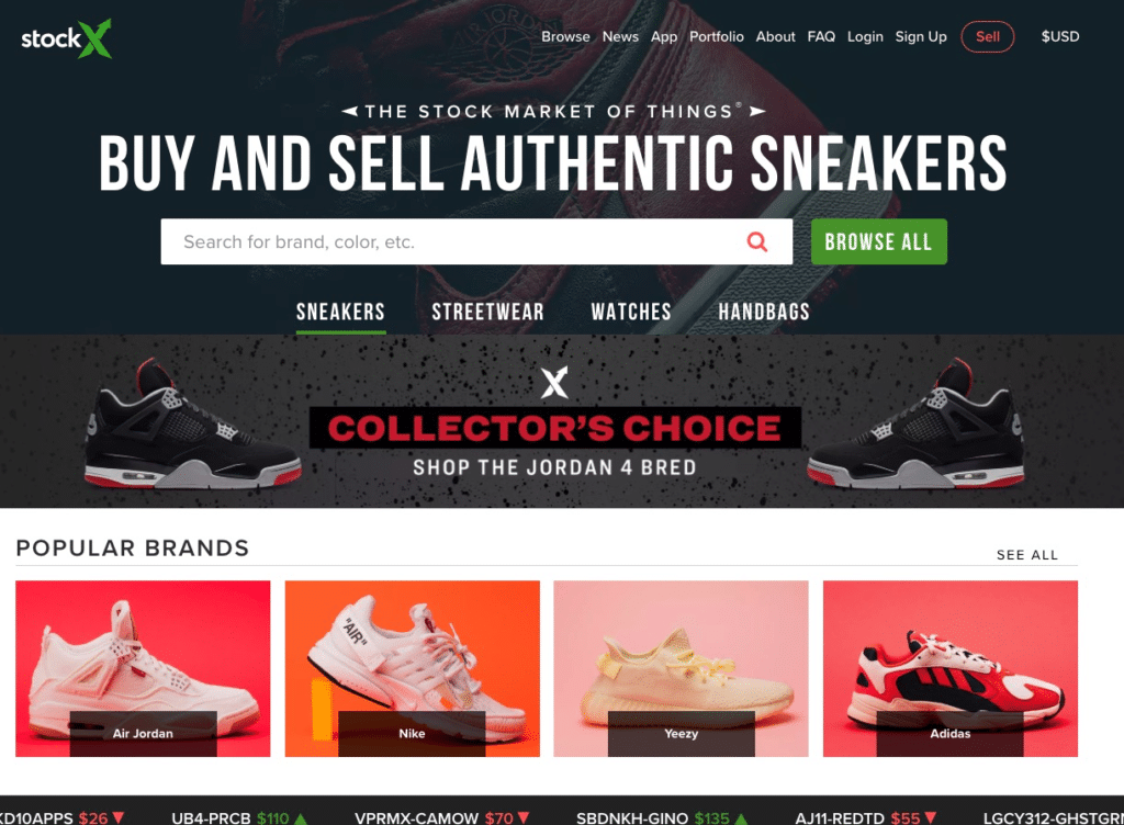 Rich results on Google's SERP when searching for 'resell sneakers' Resell sneakers on the StockX website Buy Display case at DisplayInfinity