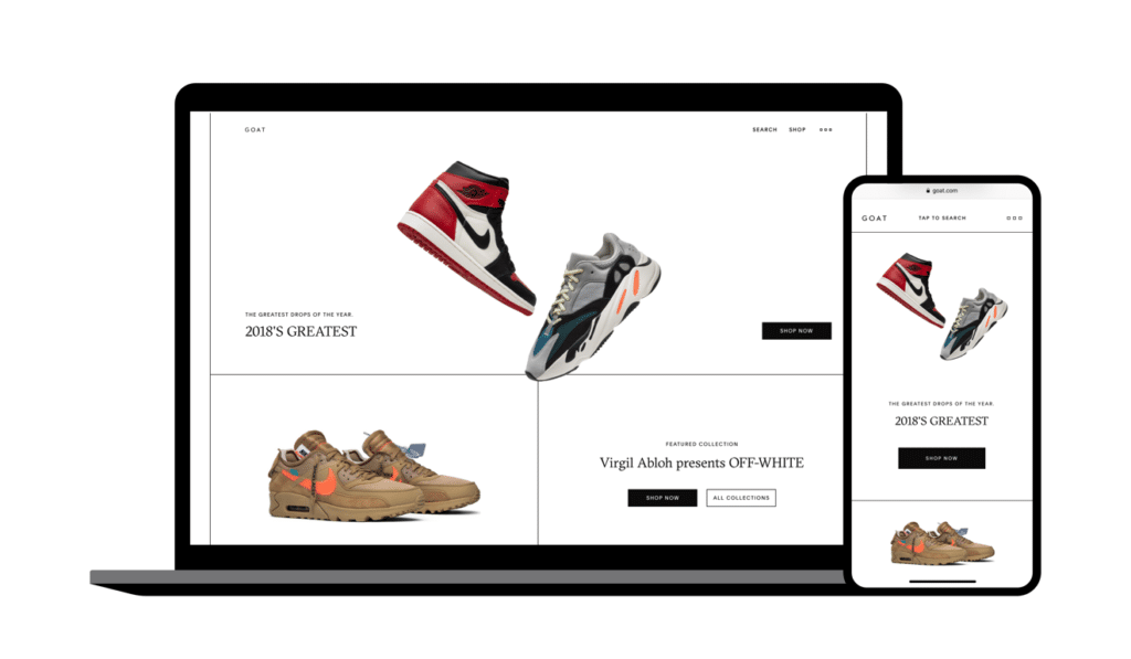 Rich results on Google's SERP when searching for 'resell sneakers' Resell sneakers on the Goat App Buy Display case at DisplayInfinity